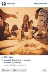Taco Bell, publicité instagram